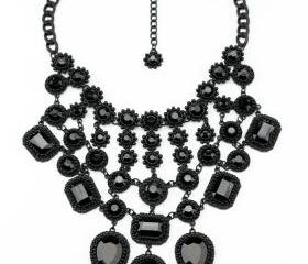 New women's black chandelier drop cluster choker bib necklace NL-211